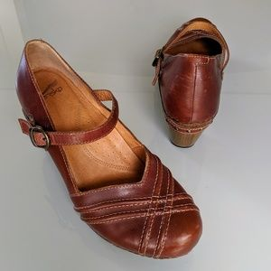 Dansko Wood Heel Leather Mary Jane Style Shoes